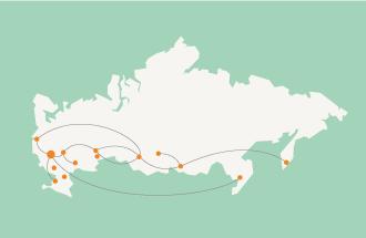 Связи российских городов в поиске Яндекса