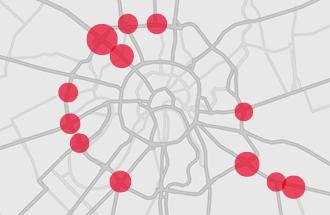 Карта автомобильных аварий в Москве