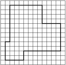 План местности разбит на клетки. Каждая клетка обозначает квадрат ... м ... ... м. Найдите площадь участка, изображенного на плане.