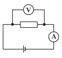 В электрической цепи, схема которой изображена на рисунке, измерительные приборы идеальные, вольтметр показывает значение напряжения ... В, а амперметр – значение силы тока ... А.