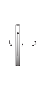 По длинному тонкому прямому проводу течет ток (см. рисунок).