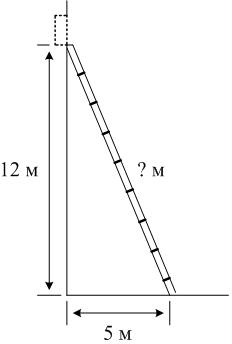 Пожарную лестницу приставили к окну дома, расположенному на высоте ... м. Нижний конец лестницы отстоит от стены на ... м. Какой длины пожарная лестница?