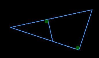 В прямоугольном треугольнике ... из произвольной точки ... катета ... опущен перпендикуляр ... на гипотенузу .... ..., .... Площадь треугольника ... равна ....