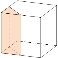 Объем куба равен .... Найдите объем треугольной призмы, отсекаемой от него плоскостью, проходящей через середины двух ребер, выходящих из одной вершины, и параллельной третьему ребру, выходящему из этой же вершины.