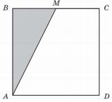 Точка ... — середина стороны квадрата .... Площадь закрашенной части равна ... см....