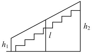 Перила лестницы дачного дома для надежности закреплены посередине вертикальным столбом. Найдите наибольшую высоту ... перил относительно земли, если наименьшая высота ... перил относительно земли равна ... м, а высота столба ... — ... м.