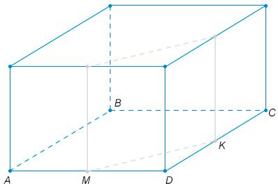 Через середины двух соседних ребер основания правильной четырехугольной призмы проведена плоскость, параллельная боковому ребру. Найдите объем меньшей из частей, на которые эта плоскость делит призму, если объем призмы равен 24.