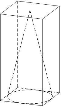 В прямоугольном параллелепипеде находится конус, основание которого вписано в основание параллелепипеда, а высота равна высоте параллелепипеда.