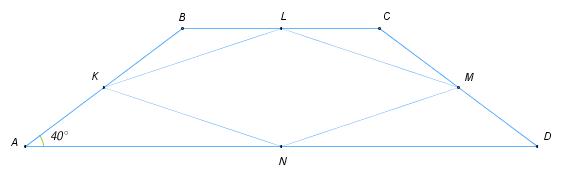 В трапеции ... .... Точки ..., ..., ... и ... – середины сторон трапеции. Найдите наибольший угол четырёхугольника ..., если угол ... равен ....