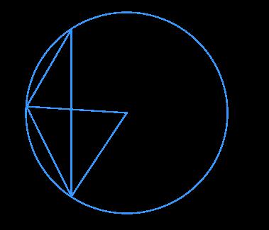 На рисунке точка ... – центр окружности, а треугольник ... – равносторонний.