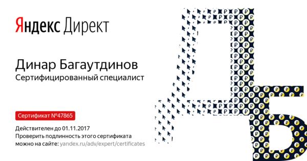Динар Багаутдинов - Сертифицированный специалист