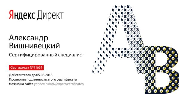 Александр Вишнивецкий - Сертифицированный специалист