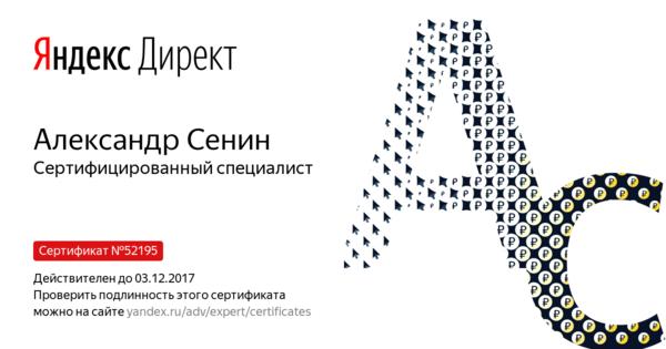 Александр Сенин - Сертифицированный специалист
