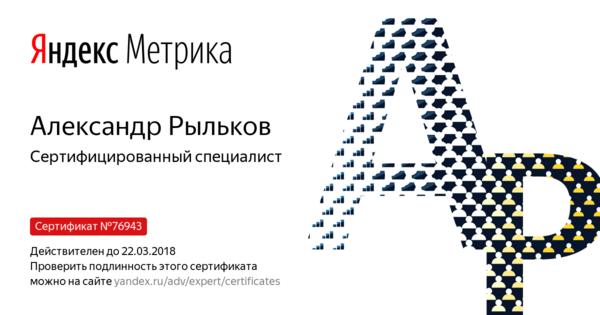 Александр Рыльков - Сертифицированный специалист