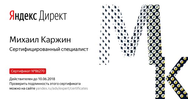Михаил Каржин - Сертифицированный специалист