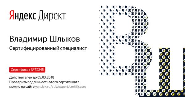 Владимир Шлыков - Сертифицированный специалист