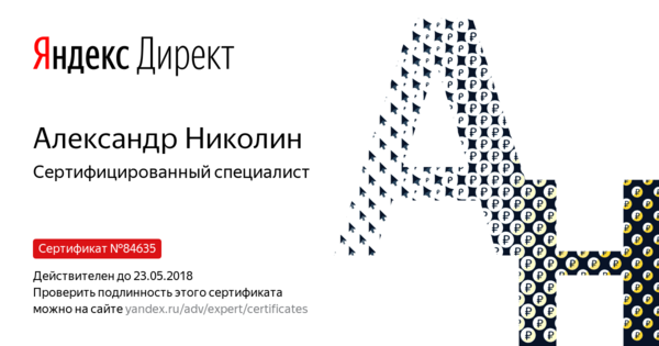 Александр Николин - Сертифицированный специалист