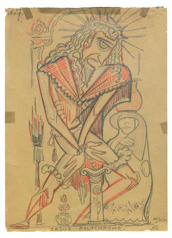 Рисунок Сергея Эйзенштейна Jesus polychrome — «Полихромный Иисус» (1931) / РГАЛИ