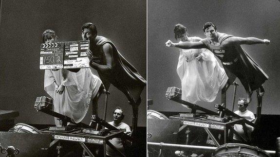 Марго Киддер и Кристофер Рив насъемках фильма Ричарда Доннера «Супермен»
