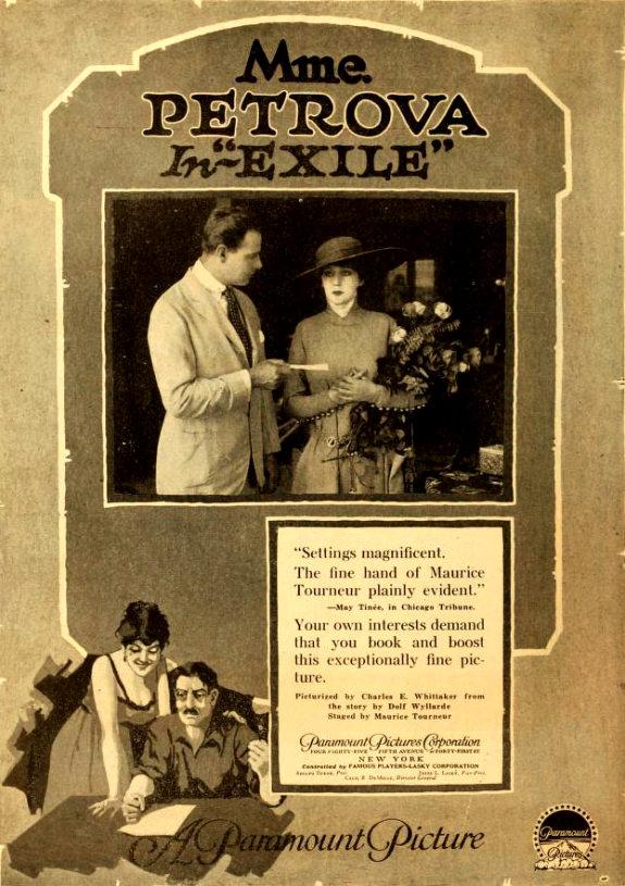 Реклама фильма «Изгнание» (1917) с Ольгой Петровой в главной роли