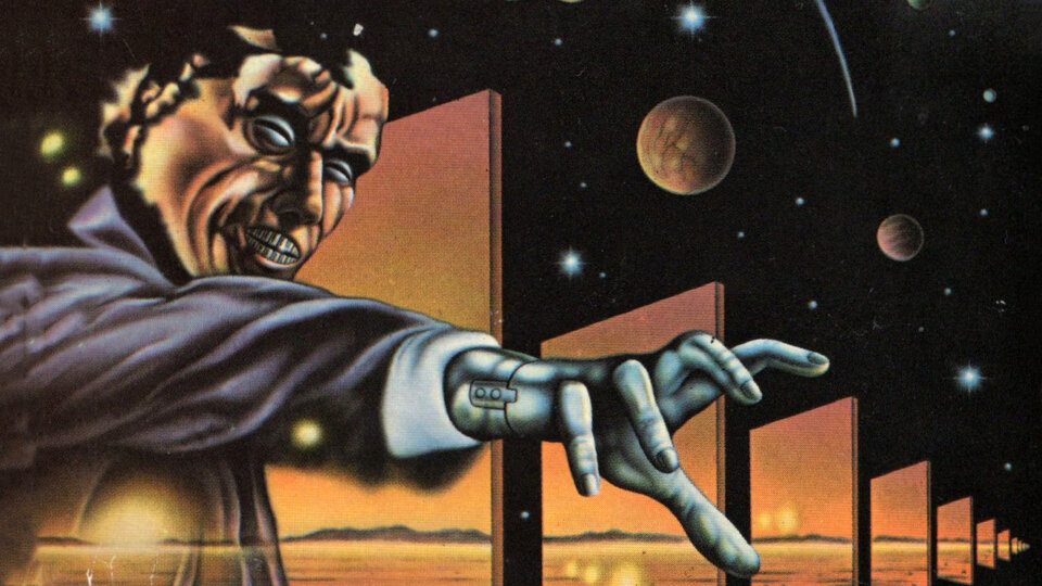 Фрагмент обложки британского издания «Трех стигматов Палмера Элдрича» (1987)