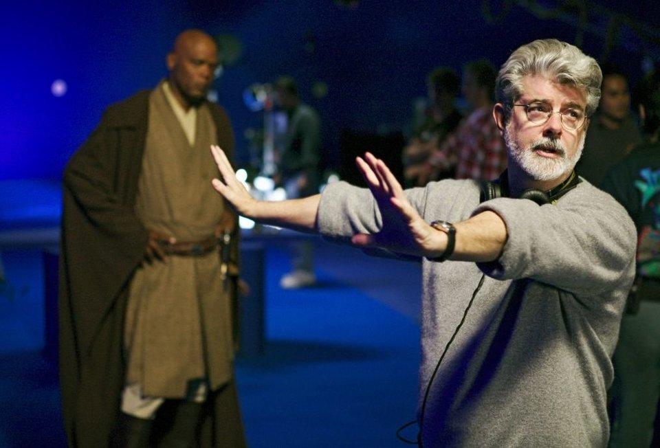 Джордж Лукас насъемках третьего эпизода «Звездных войн»
