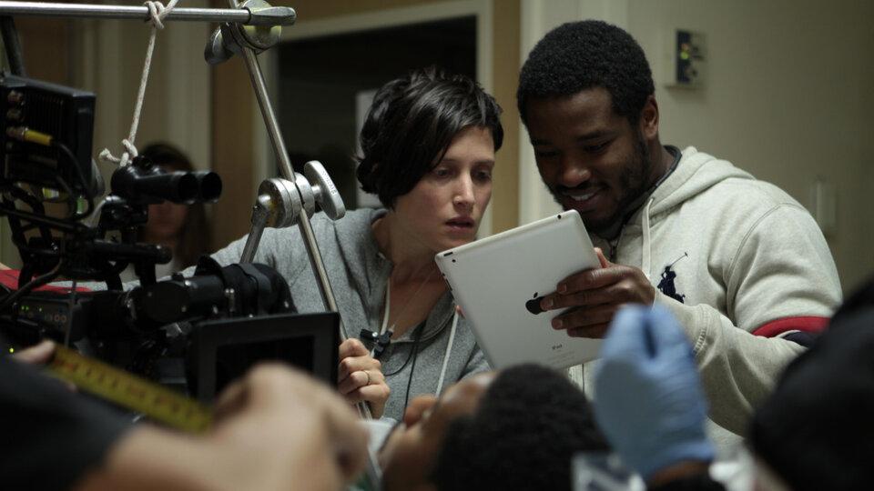 Рэйчел Моррисон и Райан Куглер на съемках фильма «Черная Пантера»