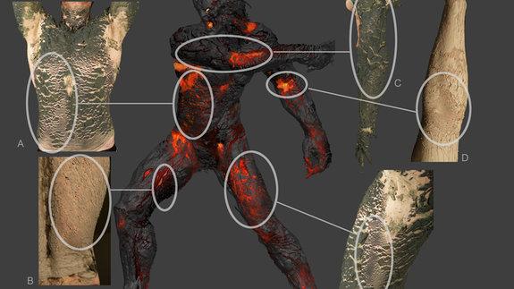 Для создания убедительной кожи Кроноса одного из художников покрыли глиной