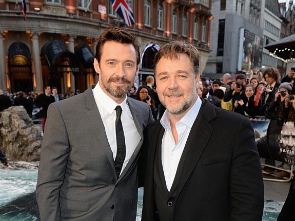 Рассел Кроу и Хью Джекман на премьере «Ноя» в Лондоне