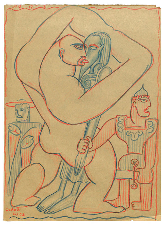 Рисунок Сергея Эйзенштейна Judas Kiss —  «Поцелуй Иуды» (1931) / РГАЛИ
