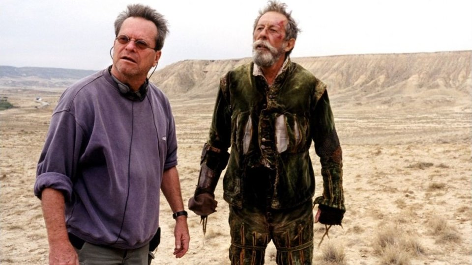 Терри Гиллиам и Жан Рошфор на съемках фильма «Человек, который убил Дон Кихота»