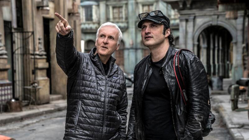 Джеймс Кэмерон и Роберт Родригес на съемках «Алита: Боевой ангел»