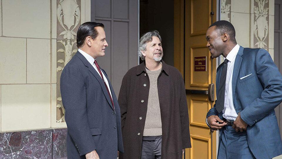 Вигго Мортенсен, Питер Фаррелли и Махершала Али на съемках фильма «Зеленая книга»