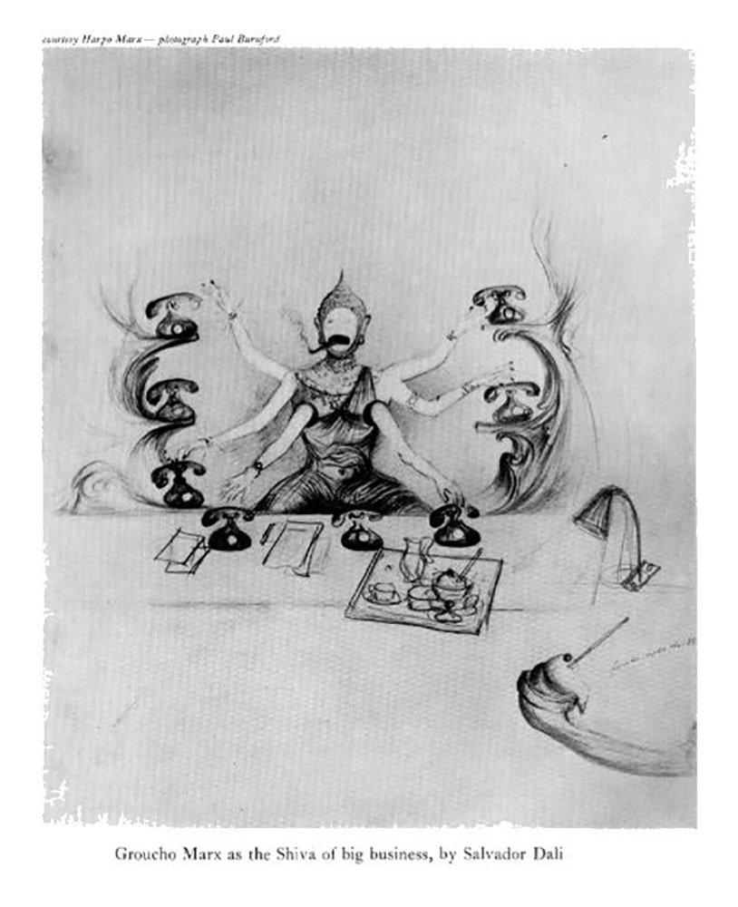 Граучо — шестрирукий Шива. Эскиз к сценарию, созданный Дали
