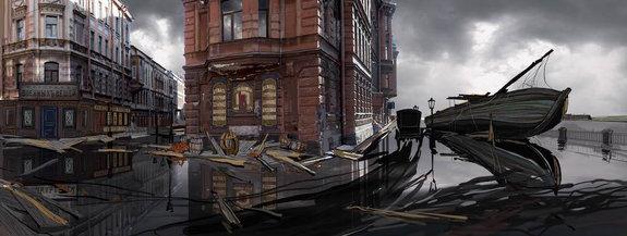 Улица Чайковского с баржей