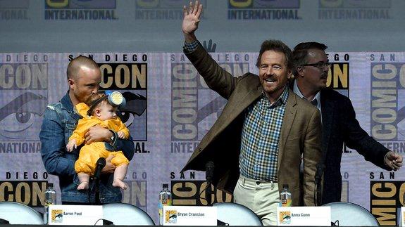 Аарон Пол, Брайан Крэнстон и Винс Гиллиган / Фото: Getty Images