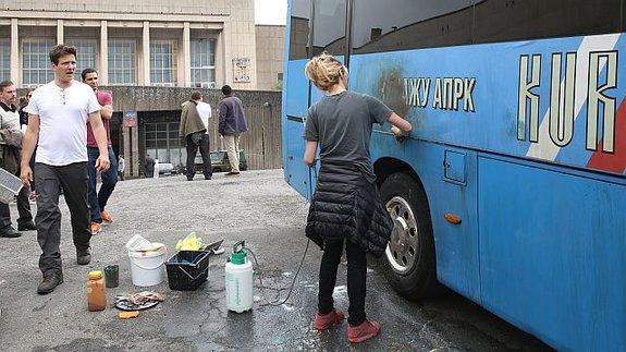 Томас Винтерберг на съемночной площадке фильма «Курск»