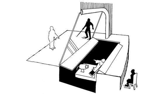 «Призрак Пеппера» на сцене Лондонского Политехнического института / Иллюстрация из книги «Исчезающий слон»