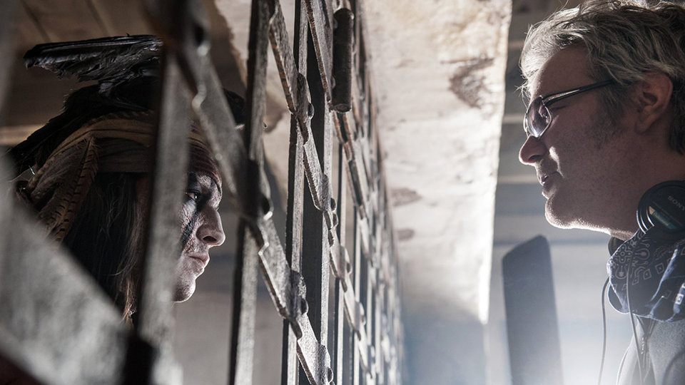 Джонни Депп и Гор Вербински на съемках «Одинокого рейнджера»