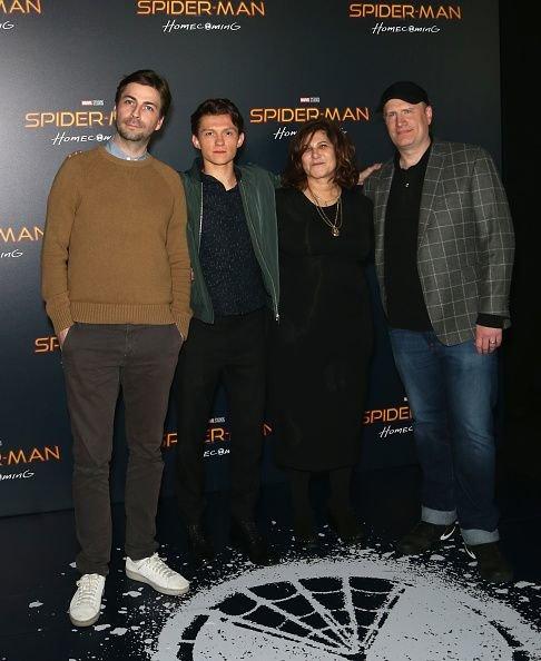 Джон Уоттс, Том Холланд, Эми Паскаль и Кевин Файги на CinemaCon / Фото: Getty Images