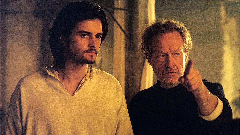Ридли Скотт и Орландо Блум на съемках фильма «Царство небесное»