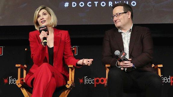 Джоди Уиттакер и Крис Чибнелл на Comic-Con в Нью-Йорке перед премьерой серии / Фото: Getty Images