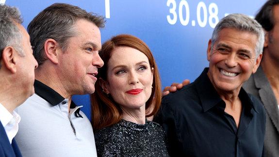 Мэтт Дэймон, Джулианна Мур и Джордж Клуни / Фото: Надежда Вознесенская  для КиноПоиска