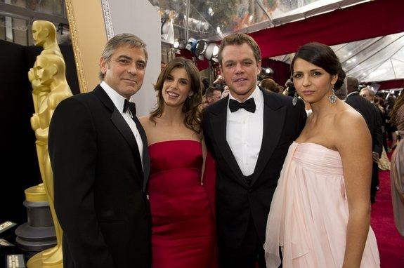 Джордж Клуни и Мэтт Дэймон со спутницами