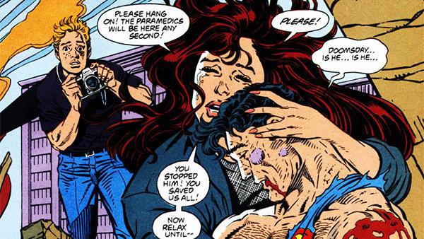 Супермен умирает на руках Лоис Лейн: Фрагмент страницы комикса «Смерть Супермена»