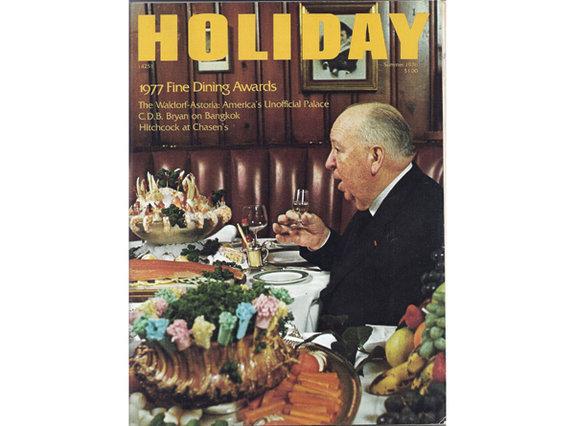 Альфред Хичкок наобложке журнала Holiday.