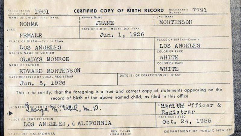 Свидетельство о рождении Мэрилин Монро