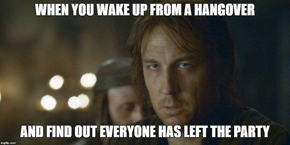 Когда просыпаешься с похмелья, а все свалили с вечеринки.