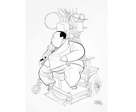 Карикатура наХичкока времен работы над фильмом «39ступеней» (1935) американского художника Эль Гиршфельда/ Фото: hitchcock.zone