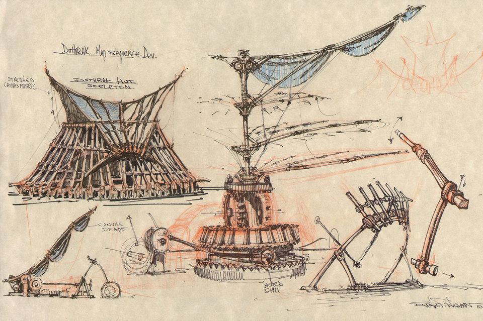 Эскизы к заставке «Игры престолов», вдохновленные военными машинами да Винчи